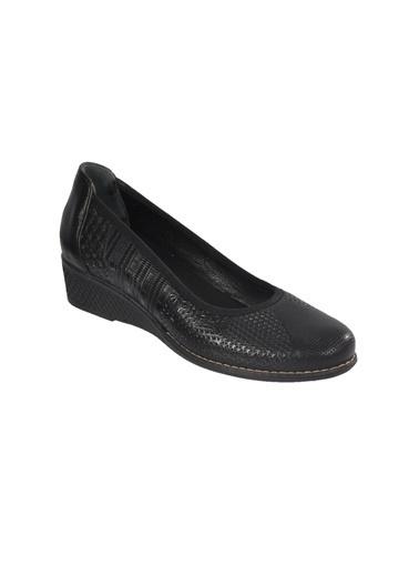 Voyager 7907 Hakiki Deri Siyah Simli Kadın Günlük Ayakkabı Siyah